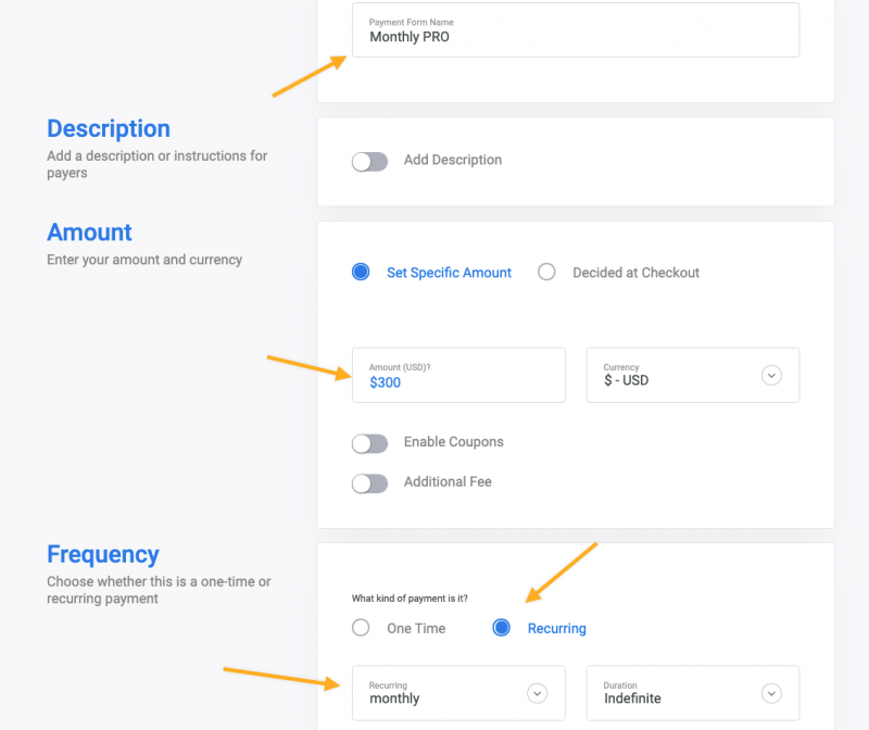 Recurring payment form Stripe