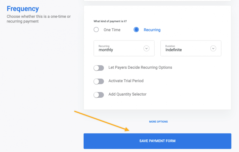 Stripe payment form
