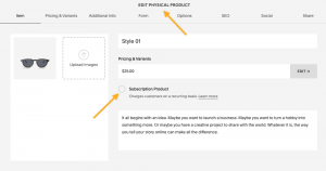 Subscription product Squarespace
