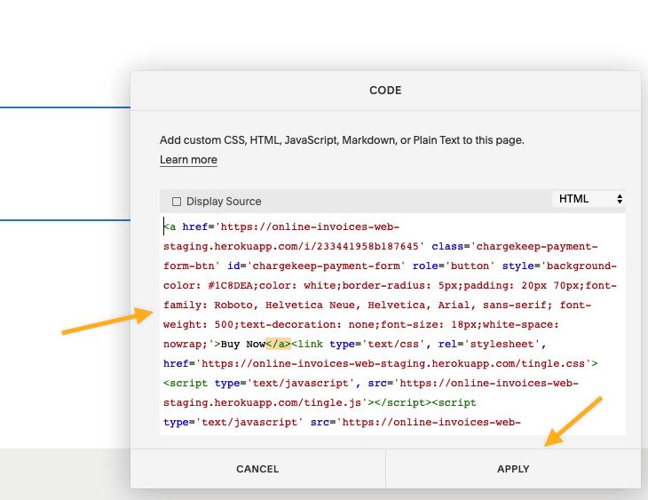 Squarespace code insert