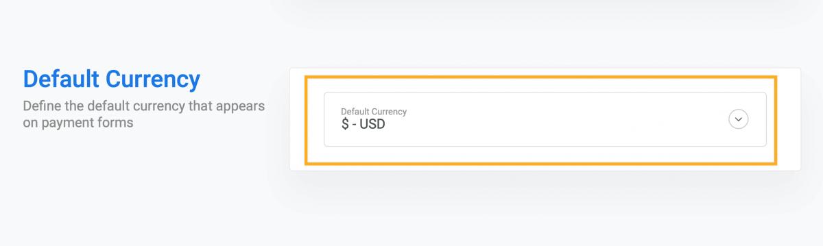 Stripe default currency