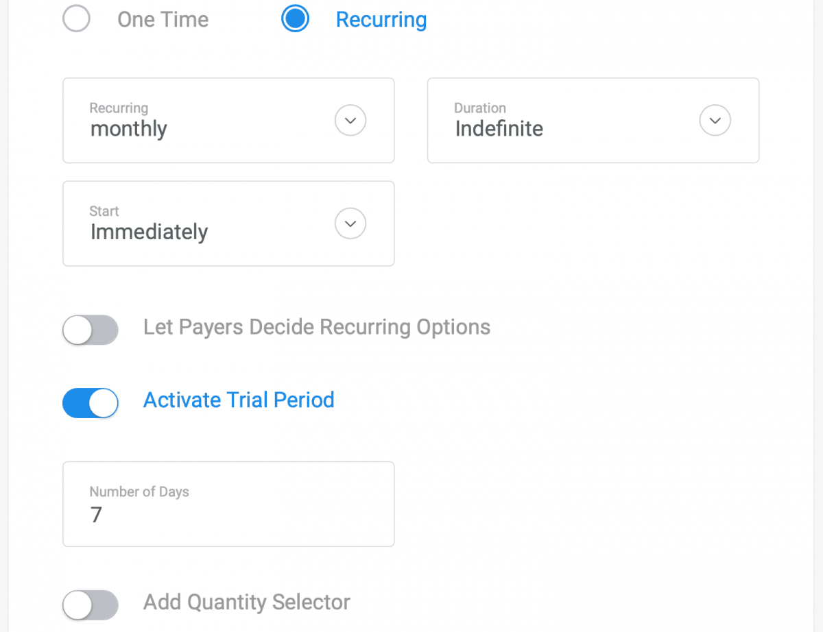 Stripe recurring payment options