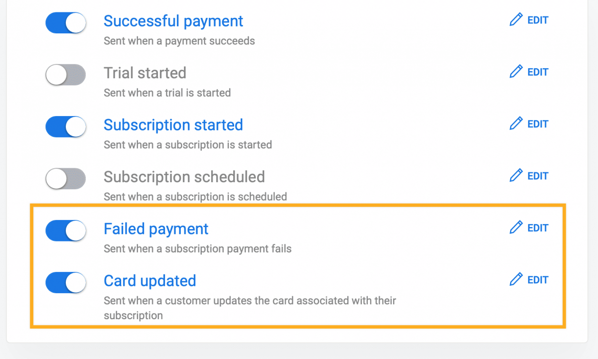 Failed payment recovery Stripe