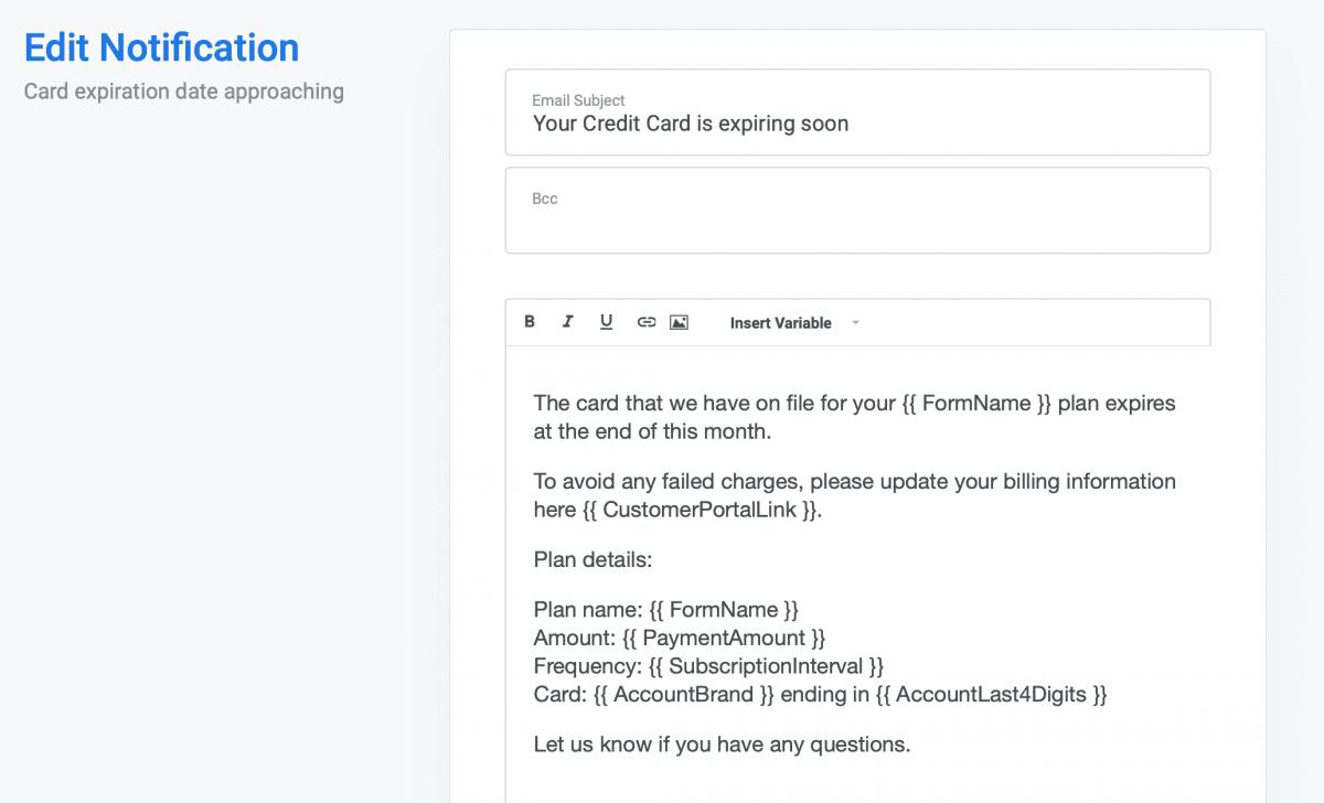 Stripe credit card date approaching notification