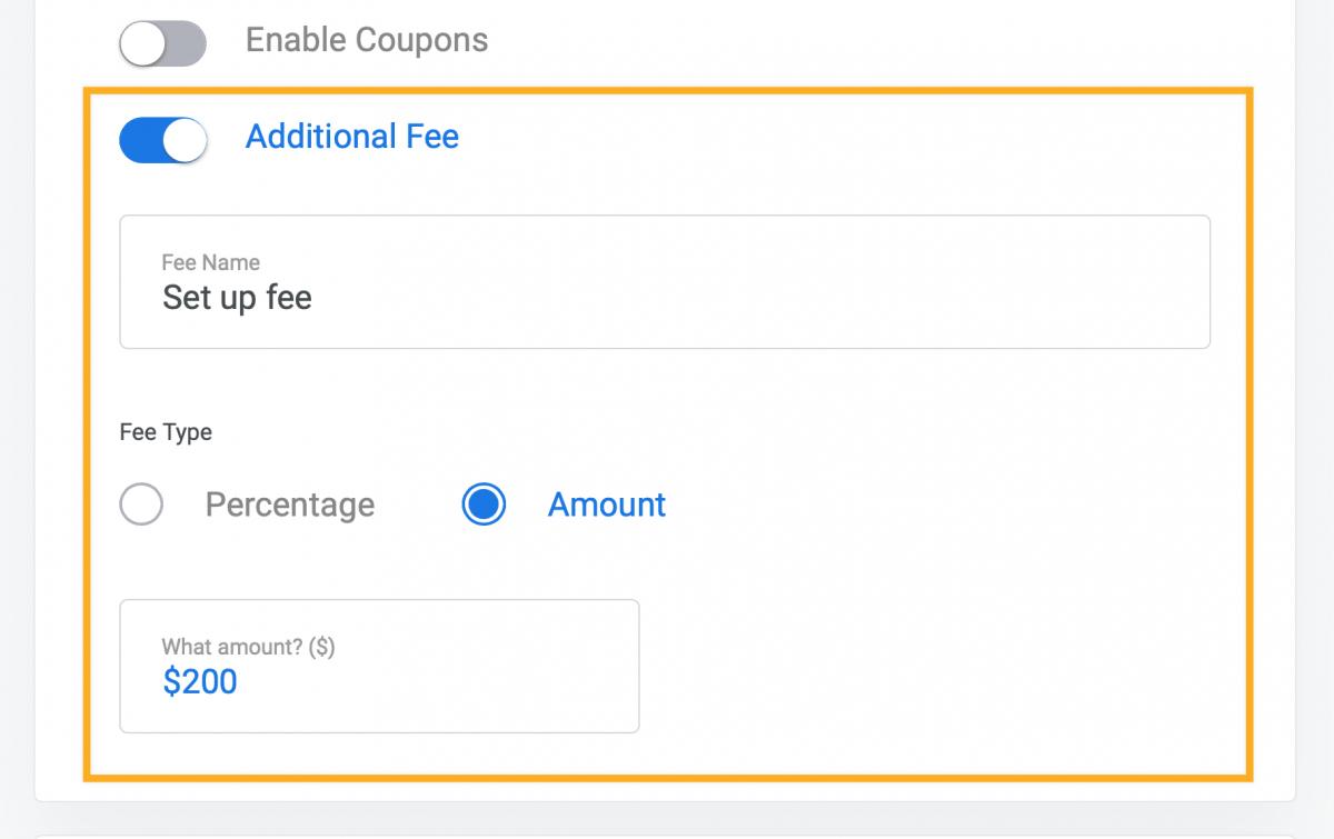 Stripe one-time setup fee