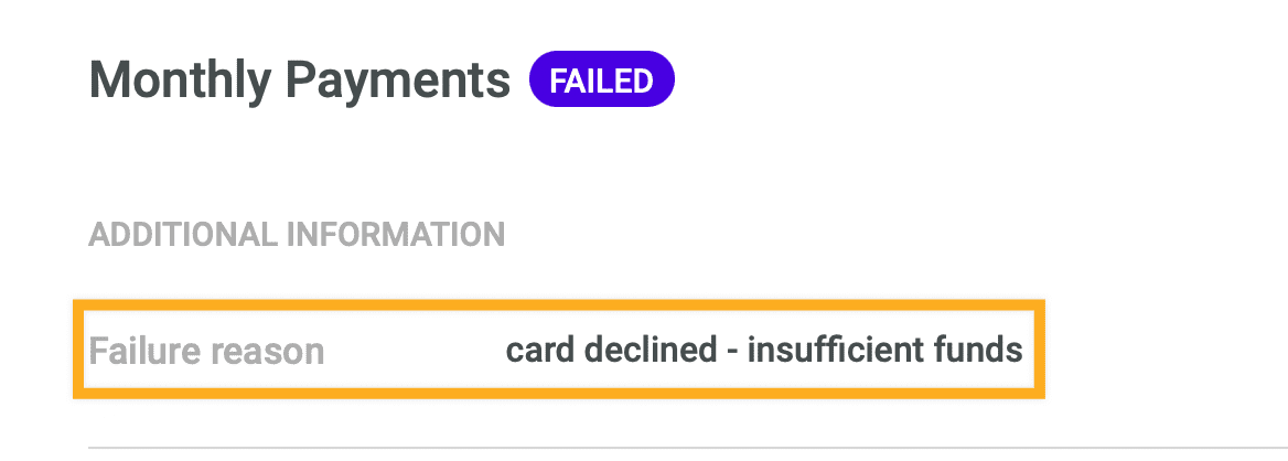 Failed payment reasons Stripe