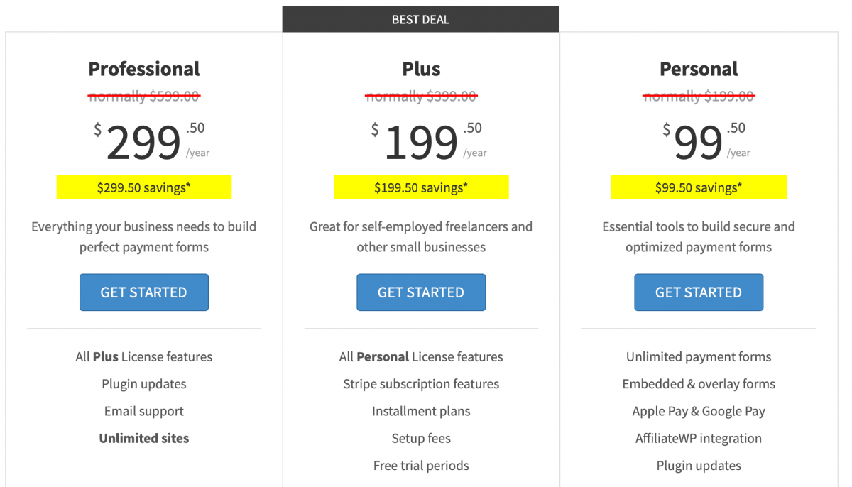 WP Simple Pay pricing